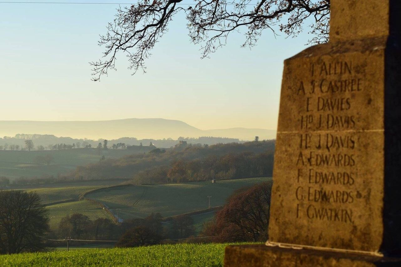 Wintry Scene Countryside Rural Scene Frosty Monument We Will Remember Them