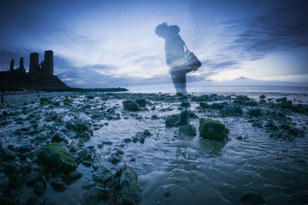 Who Threw The Stone Ghost Stones Nature Scenics A Day On The Beach Leisure Activity Vacations First Eyeem Photo Beach Shore Ghosts Stones & Water Dusk Photographer Blue Shadow Photography Themes Silhouette Reculver Reculver Towers Kent England Roman Ruins