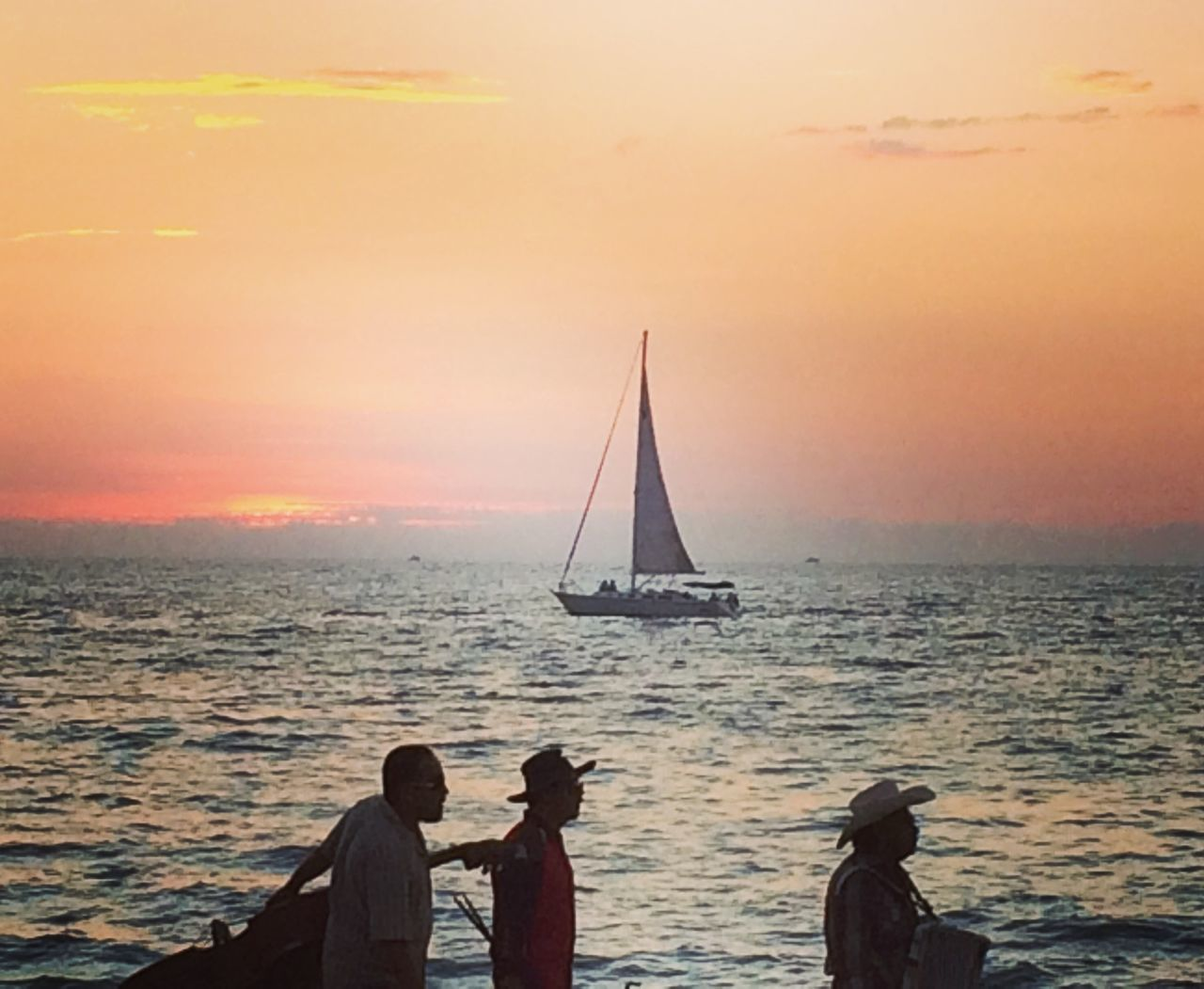 Three Amigos Sunset Outdoors Ship Ship Sailing Beyond The Horizon Ships At Sea Ship Sails Ship In The Sea Water Beach Sea Nofilter Real People Beauty In Nature Nature Togetherness Puertovallarta Mexico Threeamigos ThreeFriends TresAmigos Musicians Musicians Rock Musician Life Music Brings Us Together MusicIsLife