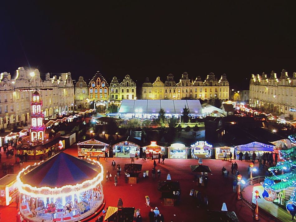 Christmas Lights Christmas Market Arras France Night Building Exterior Outdoors