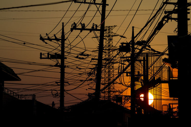 Architecture Cable Complexity Connection Electricity  Electricity Pylon No People Power Line  Power Supply Silhouette Sky Sunset Technology