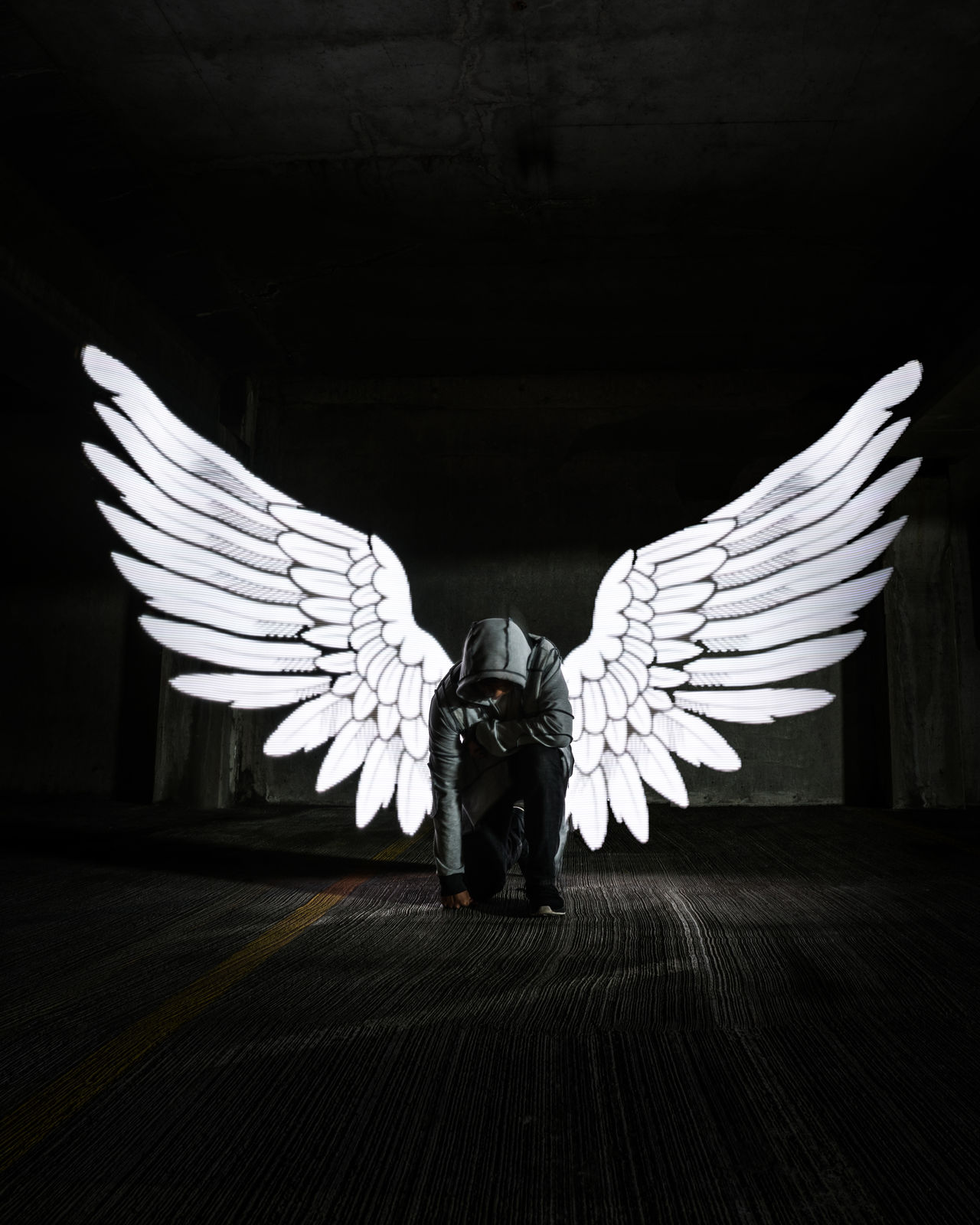 Angulife or Angelife? Spread Wings Flying Longexposure Angulife Seattle Illuminated EyeEmNewHere Lightpainting Angel Wings Angel Darkness Darkness And Light