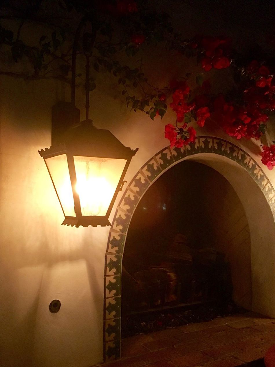 Nightime lantern next to an outdoor fireplace adorned by hanging pink flowers Lighting Equipment Illuminated No People Night Indoors  Architecture
