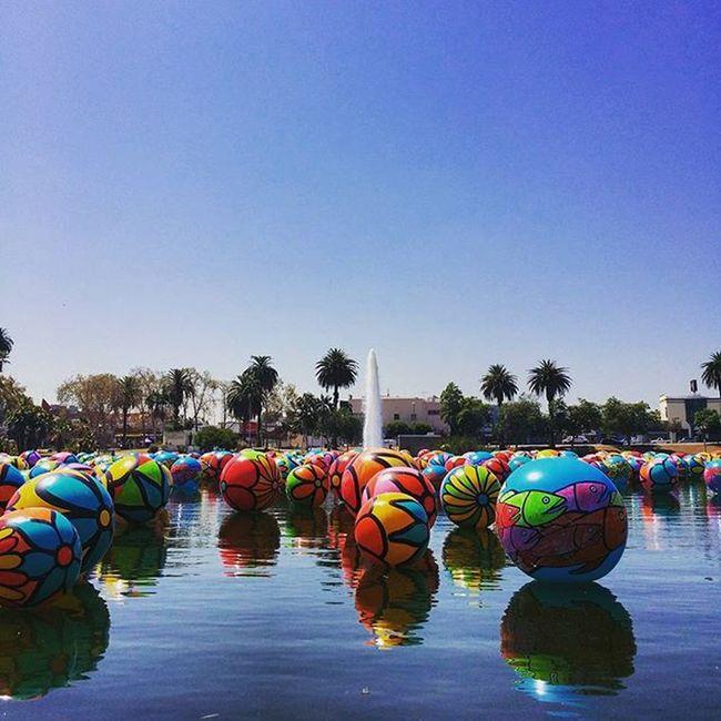 Weird beach ball Art installation Losangeles Fish Thespheres