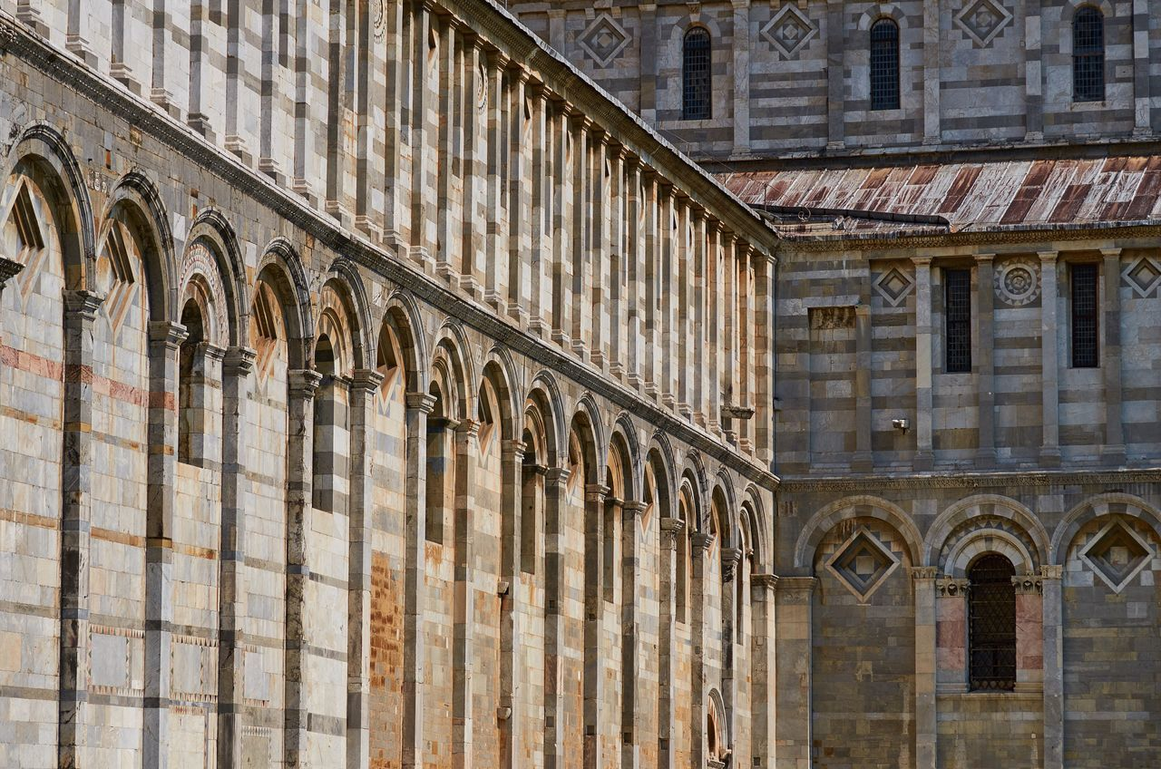 Duomo, Pisa Pisa Italy Duomo Cathedral Church Place Of Worship Catholic Catholic Church Architecture Landmark Façade Brick Marble Pattern Perspective Textures And Surfaces Medieval Medieval Architecture Lines Detail No People World Heritage Built Structure Travel Destinations Building Exterior
