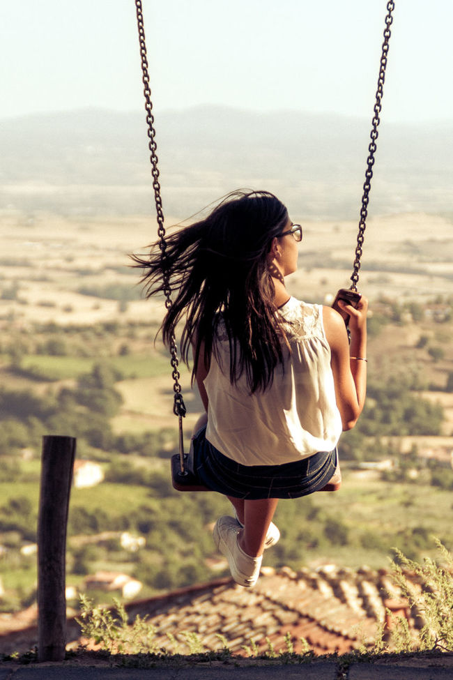 Adventure Day Enjoyment Flyng Freedom Girl Growing Growing Up Hello World Hi! Imagination Italia Italy Leisure Activity Lifestyles Long Hair Nature Outdoors People Sky Stopping Time Swing Tranquility Vacations Wind