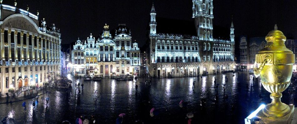 The view from 'La Chaloupe d'Or', the historical brasserie-restaurant on Brussels' Grand'Place Overnight Success Brussels Bruxelles Belgium Belgique Grand Place Grand Place Bruxelles Brasserie Restaurant Architecture Night Reflection City Travel Destinations History Rain Brussels.be Building Exterior Photography Notte Brussels By Night Brussels_cityscape View Overnight Illuminated