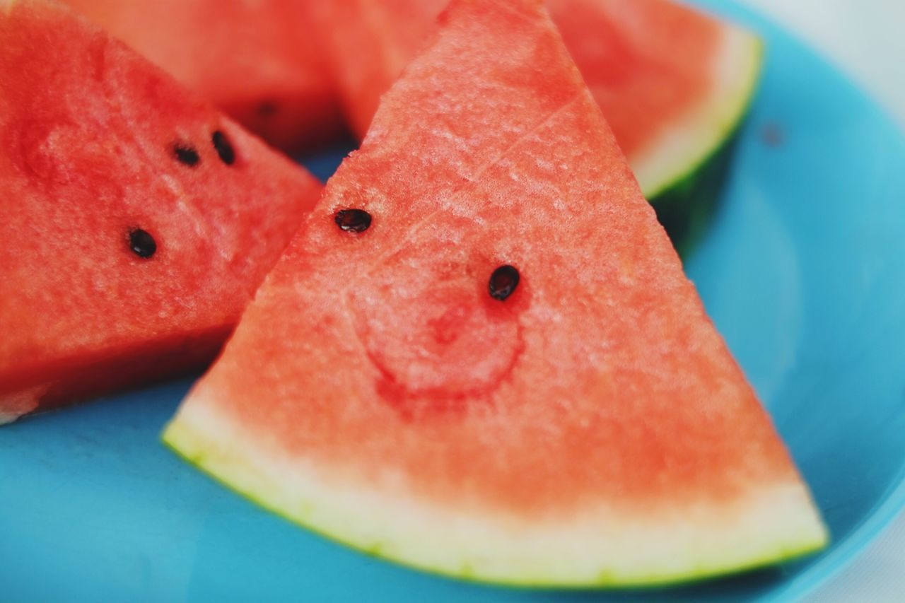 Happy watermelon smiling. Food And Drink Food SLICE Still Life Freshness Indulgence Close-up Fruit Ready-to-eat Temptation Indoors  No People Plate Selective Focus Serving Size Dessert Sweet Food Healthy Eating Day Watermelon Smile Eye4photography  Live For The Story
