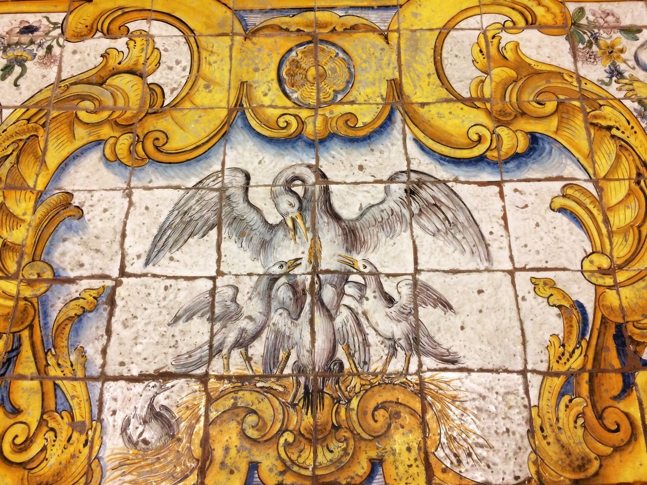 Close-up No People Architecture Anacapri Italy Capri Maioliche ChiesadiSanMichele Church Pavement Pavimento Birds Bible Anacapri Azulejos Maiolica Padlózat Templom