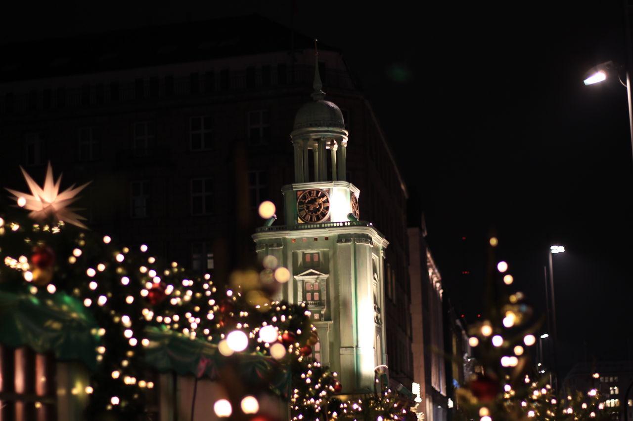 Christmas night Architecture Celebration Christmas Lights City Low Angle View Night No People Street Light