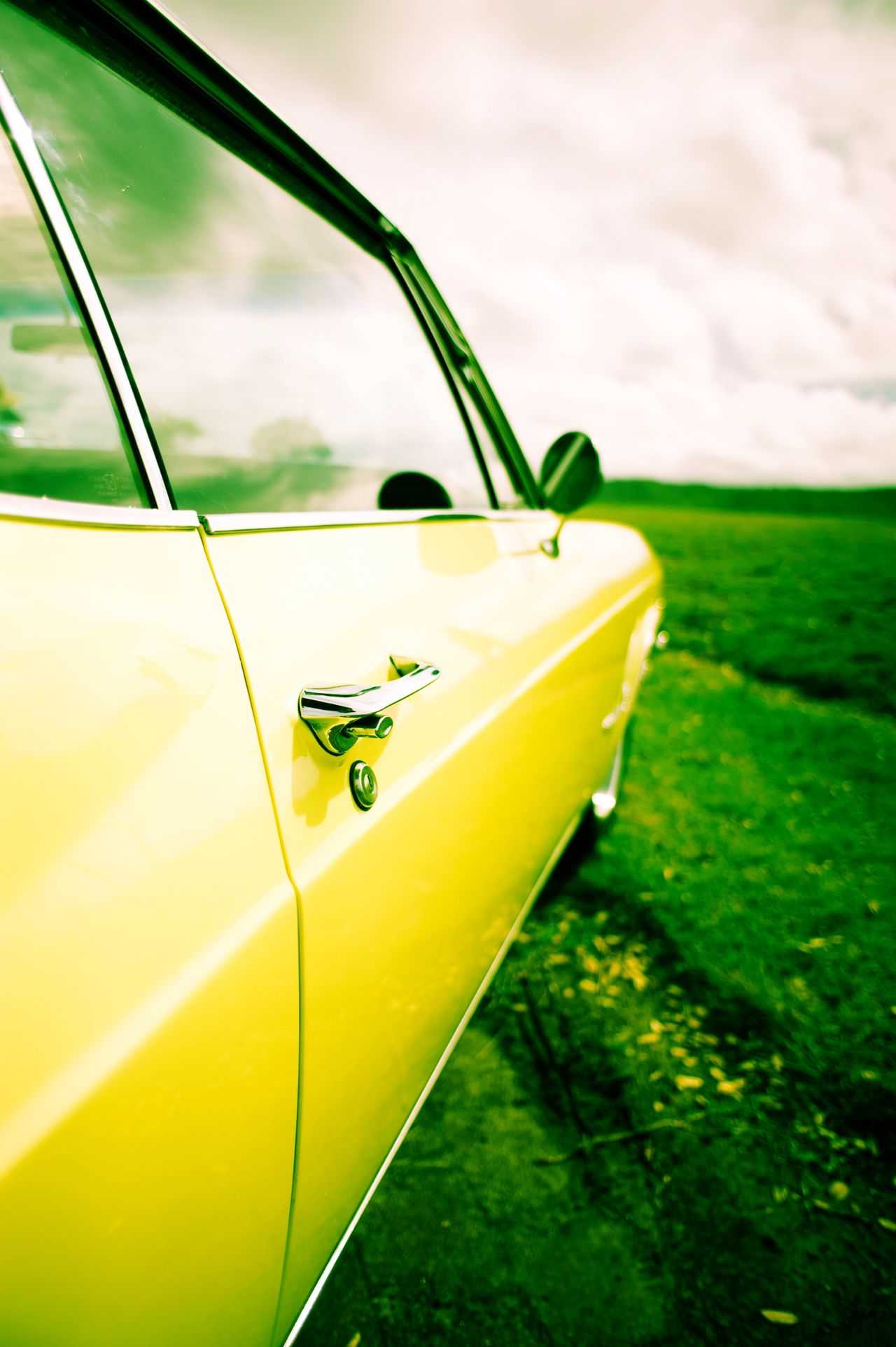 Yellow Car Automobile Car Door Classic Car Parked Yellow Green
