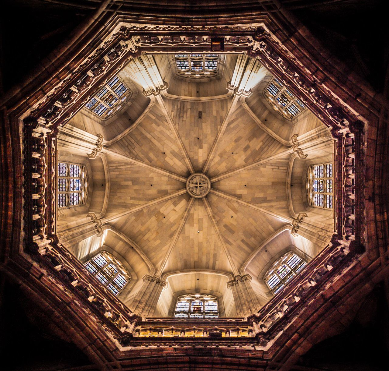 ceiling, indoors, place of worship, religion, low angle view, architecture, travel destinations, spirituality, window, built structure, no people, day