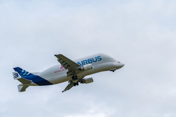 Airbus Beluga cargo transporter. Aircraft is used to transport plane sections around different factories. There are 5 Beluga's in the fleet A300 A300-600 Air Airbus Aircraft Airplane Avaiation Beluga Cargo, Chester Freight Supertransporter Transportation Transporter