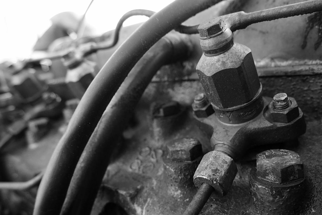 Tractor Agriculture Diesel Close Up Blackandwhite Photography Technical Oil Hose