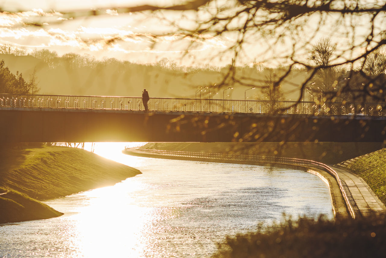 Spring Sunset Architecture Beauty In Nature Bridge - Man Made Structure Building Exterior Built Structure Connection Day Nature Nemunas Outdoors People River Sky Sun Sunlight Sunset Tree Water