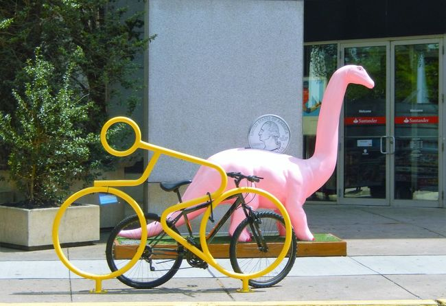 Pink Dinosaur Yellow Bike Rack Bike Coin Check This Out Street Art EyeEm Showcase July Eyeem Market EyeEm Gallery Eyeem Photography Eye4photography  EyeEm Team Eyem Collection EyeEm Best Shots - The Streets EyeEm Best Shots - Architecture Pennsylvania Quarter  Hidden Gems  Home Is Where The Art Is Two Is Better Than One CyclingUnites Embrace Urban Life Millennial Pink