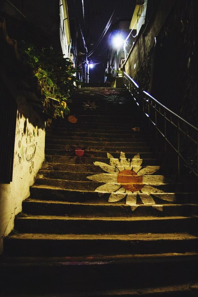 Steps Steps And Staircases Staircase The Way Forward Low Angle View Illuminated Railing Outdoors Stairs Nature Surface Level No People Ewha Wall Picture Village South Korea
