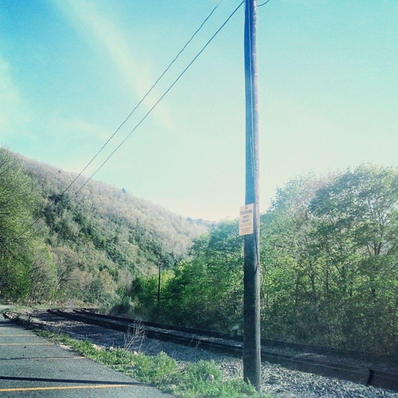 Lehigh Valley railroad Coalcountry Mauchchunk Traintracks Bearmountain Lehighcoalandnavigation lehighrivergorge Appalachia poconos telephonepoles