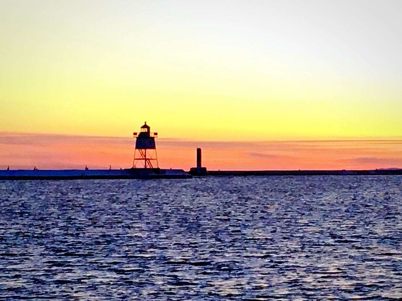 Artist's Point Lake Superior Light House Sunset Pink Water Contrast