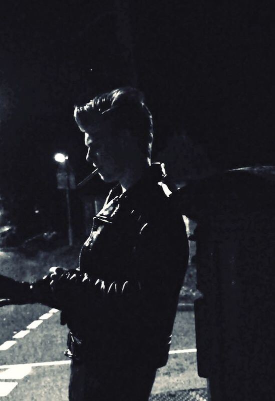 Biker at night Leather Jacket Biker Blackandwhite Schott First Eyeem Photo