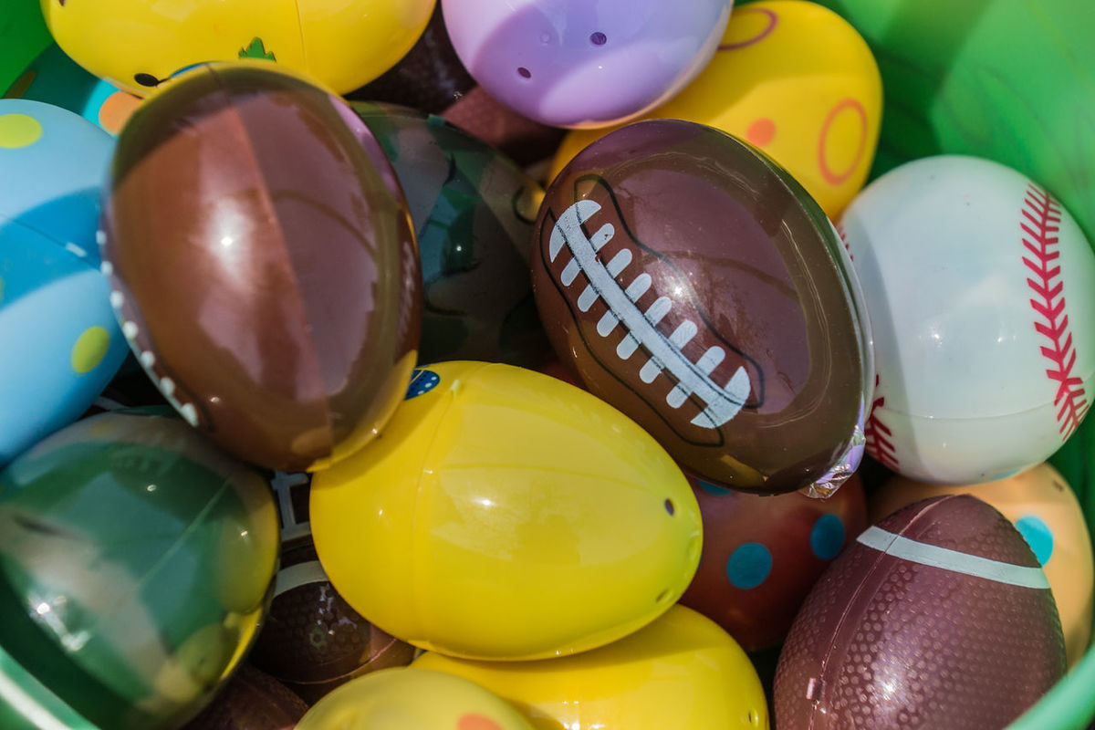 Basketball Celebration Close-up Day Easter Easter Egg Easter Eggs On Display Eggshell Football Large Group Of Objects Multi Colored No People Plastic Easter Eggs Yellow