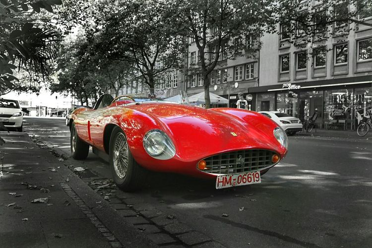Monza Ferrari Land Vehicle Car Street City Road Parking Red City Street City Life Stationary Paving Stone Day Parked Outdoors Ferrari Luxurylifestyle  Luxury Monza Yolo Old Old Cars Oldtimer