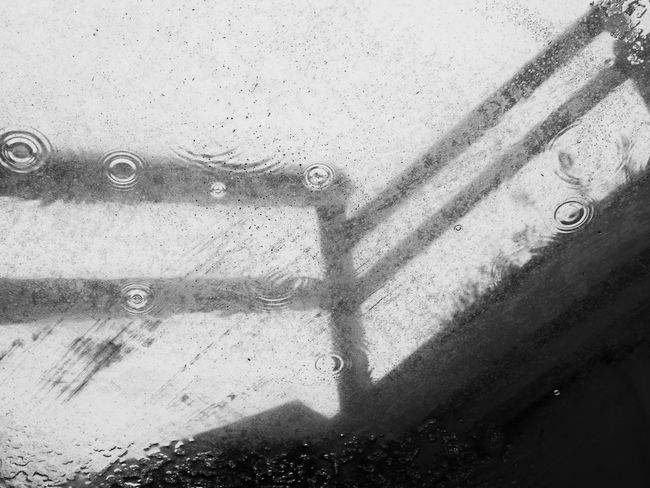 Black & White Bubbles Drops Ladder Loneliness Railing Rain Rainy Days Silhouette Abstract Architecture Backgrounds Black And White Blackandwhite Blackandwhite Photography Built Structure Close-up Contrast Day Drop No People Sadness Water