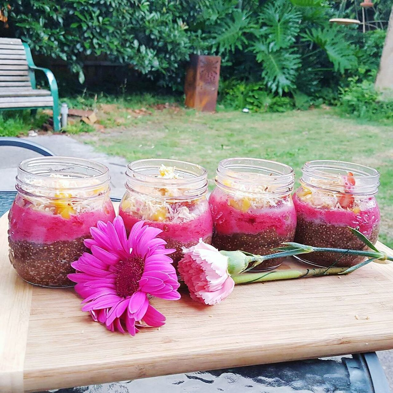 Flower Pink Color Plant Drinking Glass Summer Table Drink No People Flower Arrangement Outdoors Nature Freshness Day Flower Head Food Foodporn Foodphotography Chia Chia Seeds Chia Pudding Healthy Eating Healthy Dessert Sugar Free