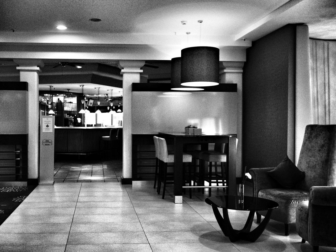 Everyone gone - MAinLoveWithLightAndShadow Alone In The Room No People Empty Space Furniture Lamps Lights Light And Shadow Shadow And Light Mono Monochrome Monochromatic Black And White Bnw Bnw_collection Bnw_captures Bnw Photography Bnw_maniac Indoors  Snapshot Beauty In Silence Silence Silent Moment How I See The World - 01.02.2017 - #courtyard #marriott #hannover