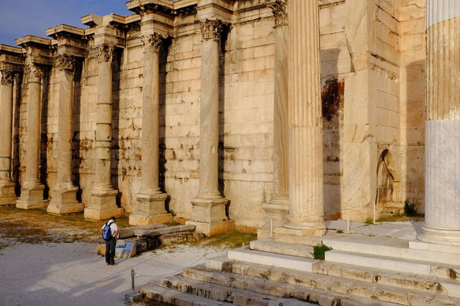Ancient Archaeological Sites Architectural Column Architecture Art Column Culture Europe Famous Place Feel The Journey Hadrian's Library Historic Historical Monuments Historical Sights History Man Person Sightseeing Tourism Tourist Tourist Attraction  Tourist Destination Travel Destination Travel Photography