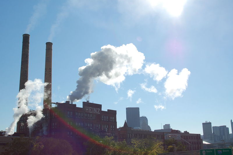 America Blue Sky Business Day Heinz Industrial Lensflare Pennsylvania Pittsburgh Places Rainbow Sky Skyline Smoke Smokestack Steam Sun Flare