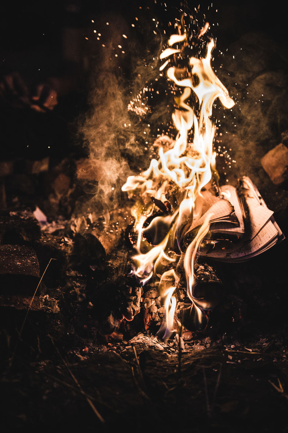 Bonfire Bright Burning Campfire Close-up Fire - Natural Phenomenon Firewood Flame Glowing Heat Heat - Temperature Night Outdoors Vibrant Color Wood - Material