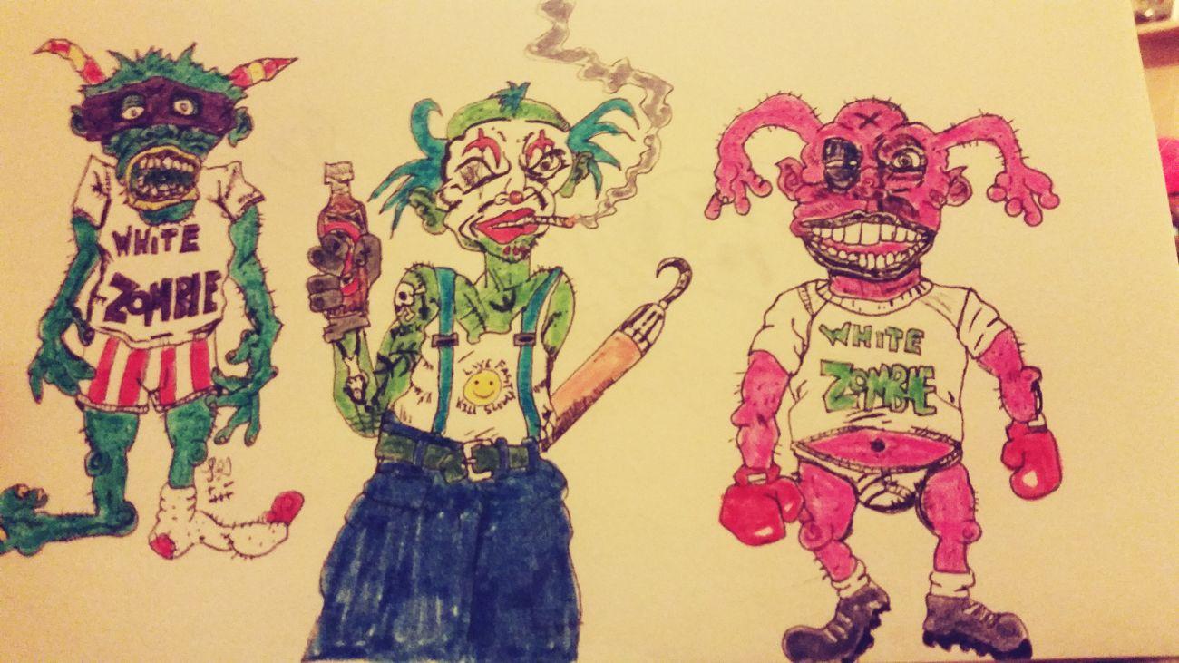 Myartwork MyArt Myartbook Artist ArtWork Whitezombie Monsters Clowns Cartoon Markers  Sharpie Colors