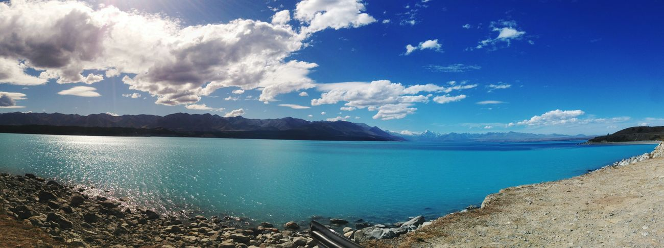 Lake Pukaki? More like Lake Blukaki Swimming Lovely Weather Nature New Zealand New Zealand Scenery New Zealand Landscape Lake Pukaki Blue Panorama Panoramic Photography New Zealand Natural Landscape Landscapes With WhiteWall Mountains Mount Cook Aoraki