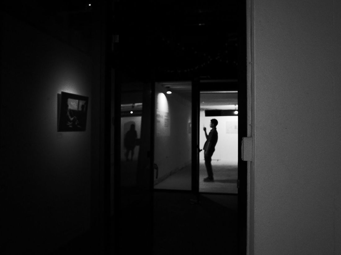 Exhibition Getting Inspired From My Point Of View Light And Shadow Black And White People Still Out  On The Road