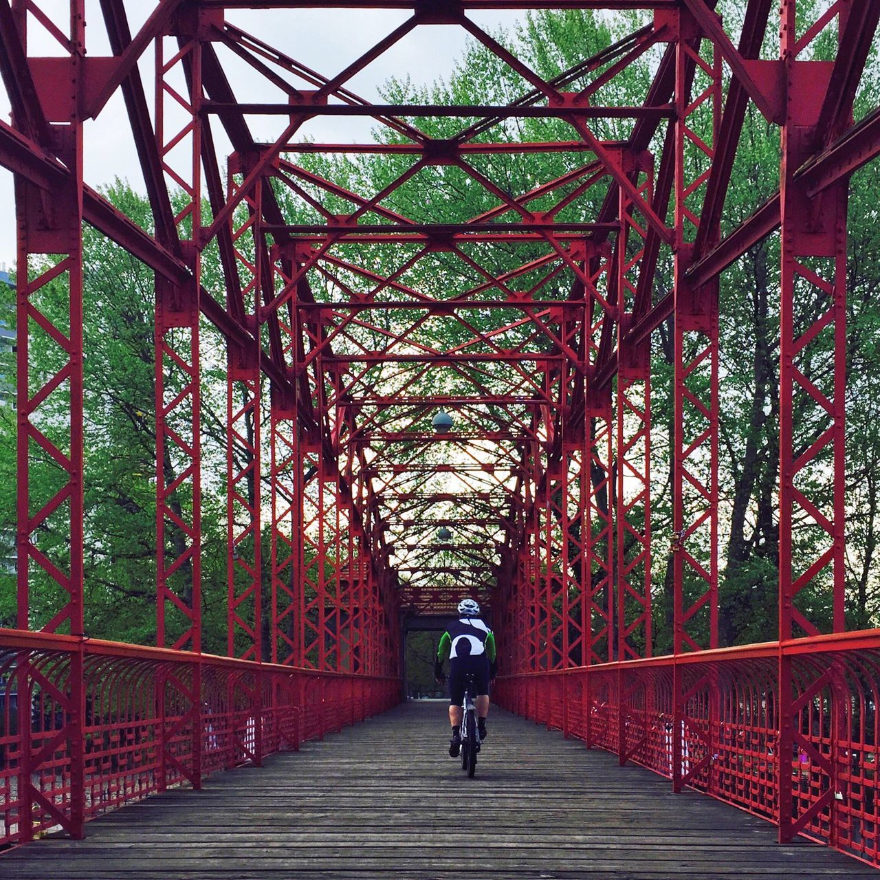 Rear View Of A Man Bicycling On Bridge