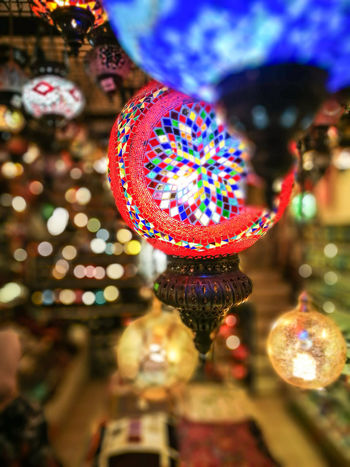 blurry beautiful lights Celebration Hanging Night Illuminated Multi Colored Tradition Vacations Indoors  Close-up