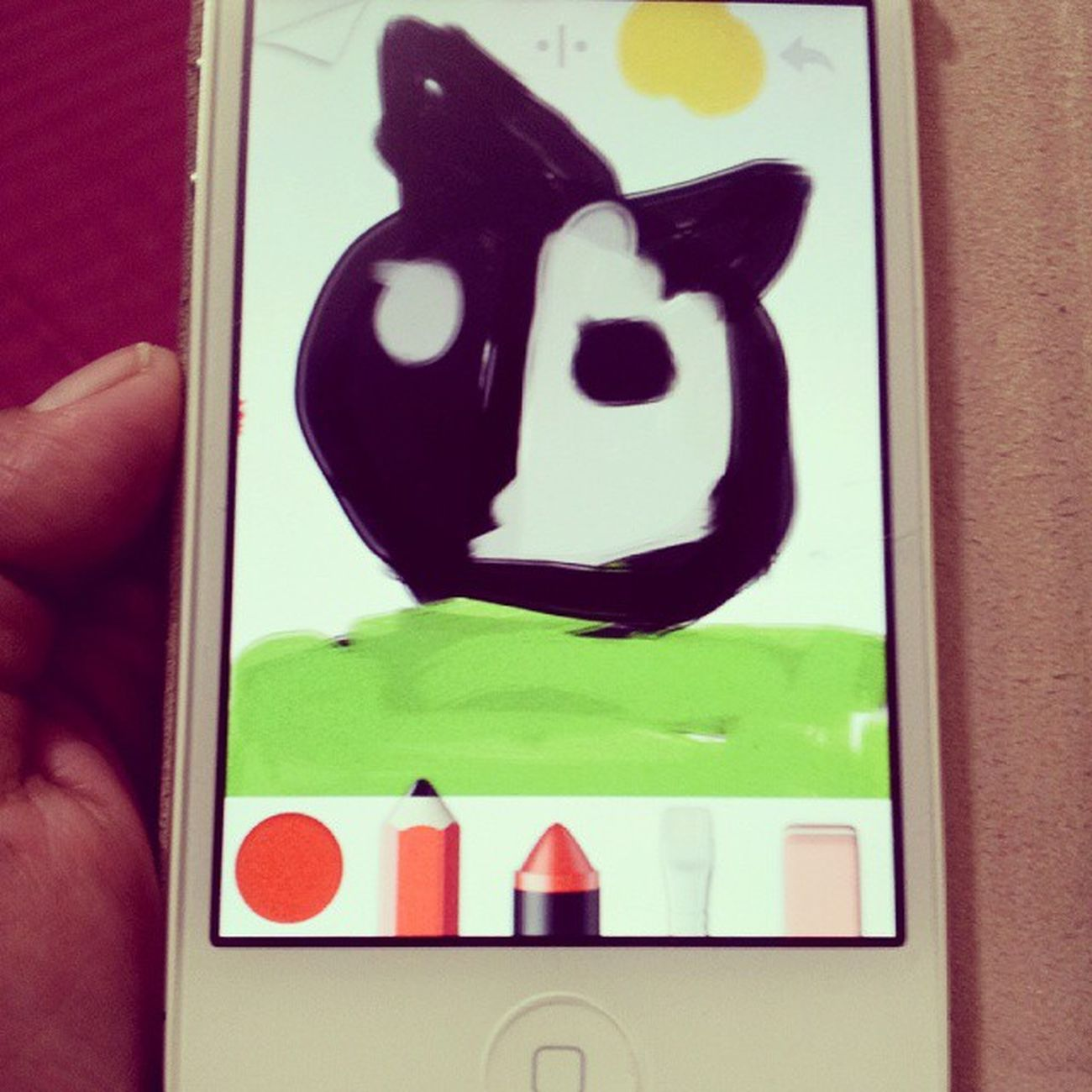 """My son just drew on my phone. Wow! Looks good and he could do it. He said, """"Mom, this name is the head of a bull."""" ☺♥ Love Art ArtWork Drawing Painting Kidsartist Youngartist IPhone Lovemyson Myson Proudmom"""