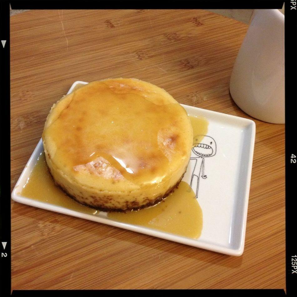"Dessert: my first ""winging it"" mini-cheesecake (5""). Ginger snap crust, salted caramel sauce. #FoodSuccess"