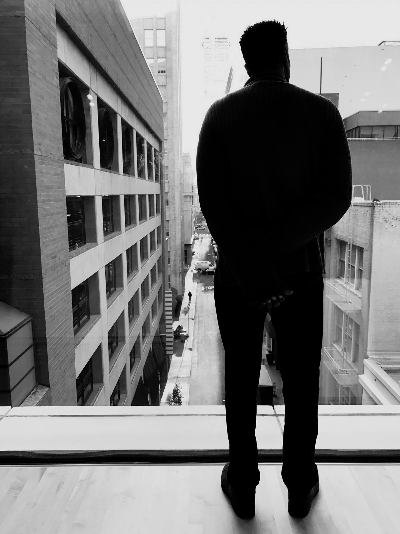 Full Length Rear View One Person Real People Lifestyles Standing Men Indoors  Day One Man Only Architecture People Winter Cityscape