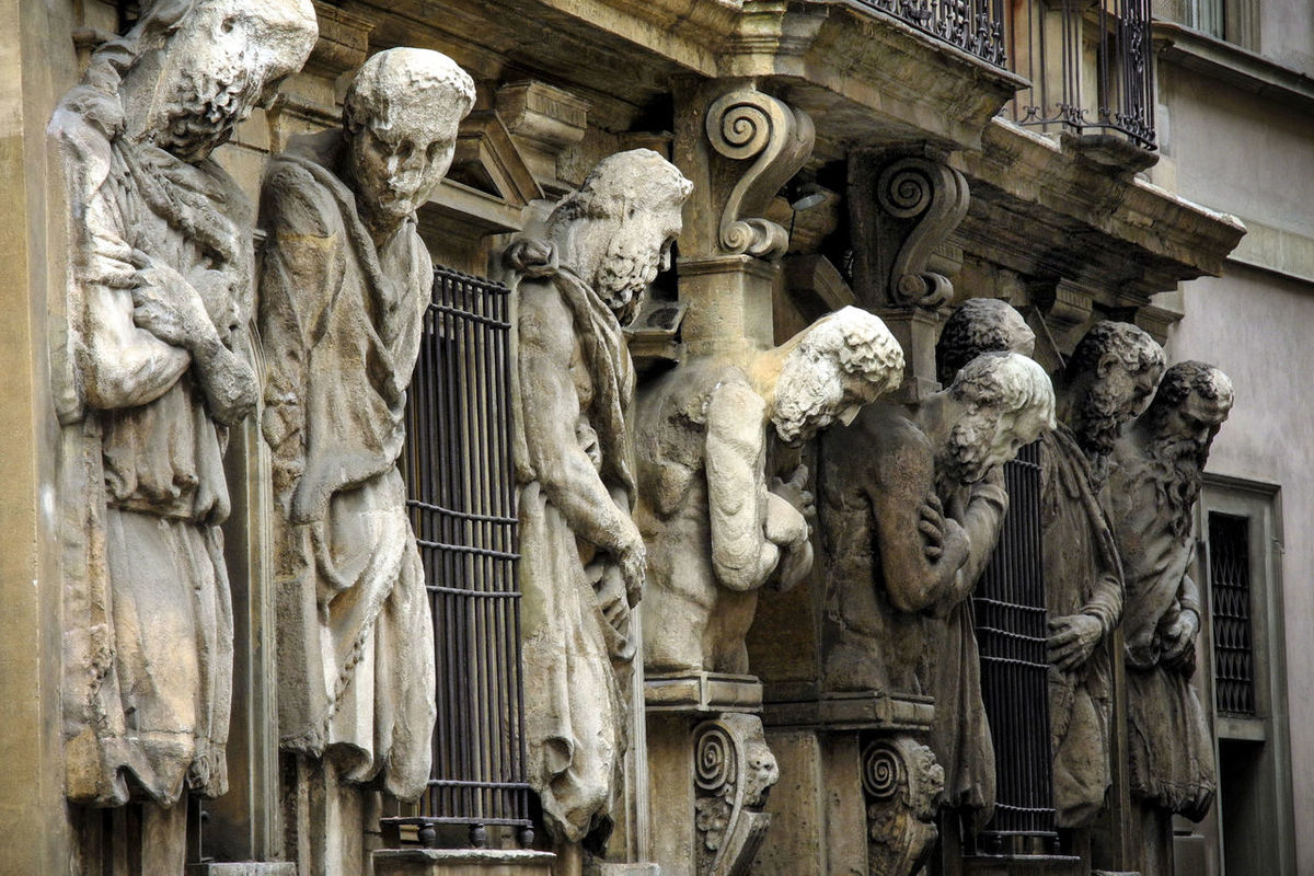 Casa degli Omenoni, historic palace of Milan, Italy Alley Art Atlantes Building Building Exterior Close-up Colour Column Creativity Day Facade Building Façade Historical Historical Building House No People Ornate Sculpture Statue Statues Street The Past Travel Turistic Turistic Places