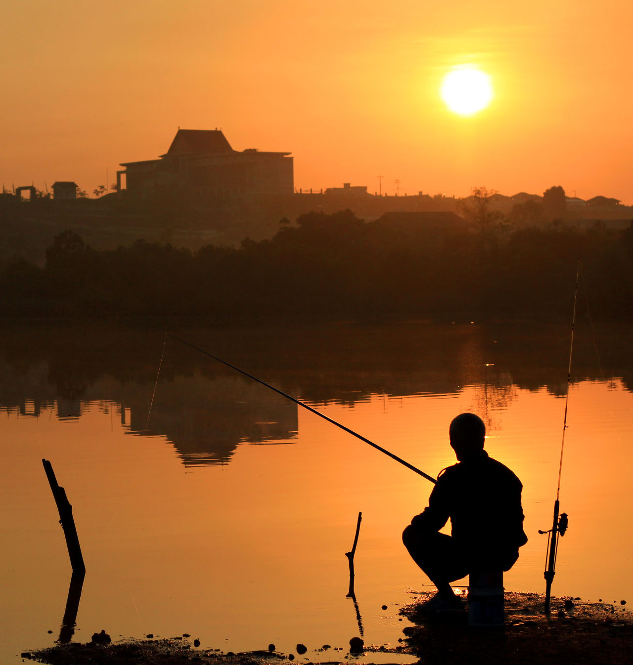 fishing Architecture Beauty In Nature Building Dailylife Fishing INDONESIA Kepulauanriau Ketanjungpinanglah Lake Leisure Activity Lifestyles Nature Orange Colour Outdoors People Senggarang Silhouette Sitting Sky Sunrise Tanjungpinang TravelDestinations Water Wonderfulindonesia Wonderfulkepri