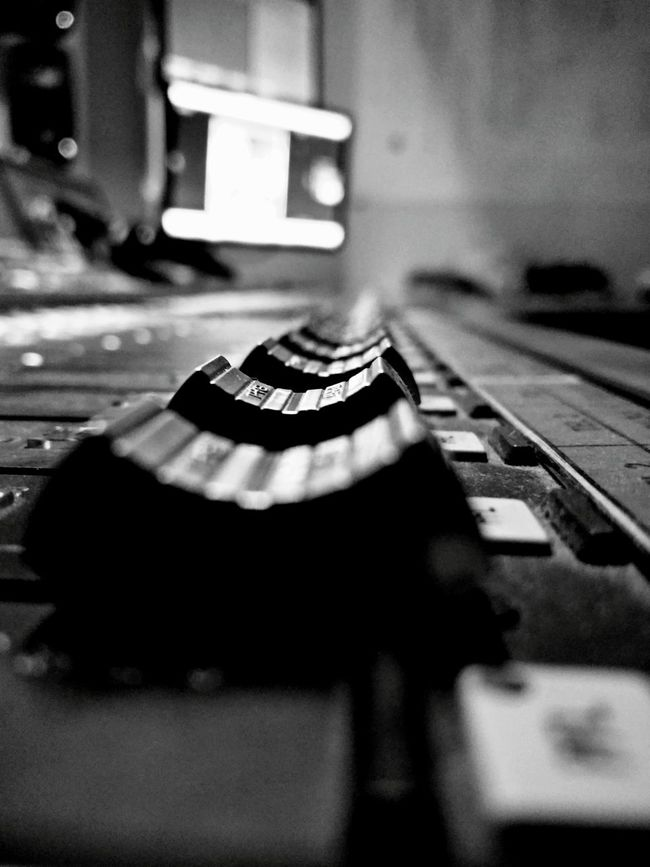 Close-up Focus On Foreground Detail Close-up Detail Selective Focus Indoors  Black And White Photography Faders Sound Mixer Sound Console Amplifier Audio Audio Mixer Audio Equipment Audio Studio Audio Engineering Audio Mastering Everything In Its Place Monochrome Photography