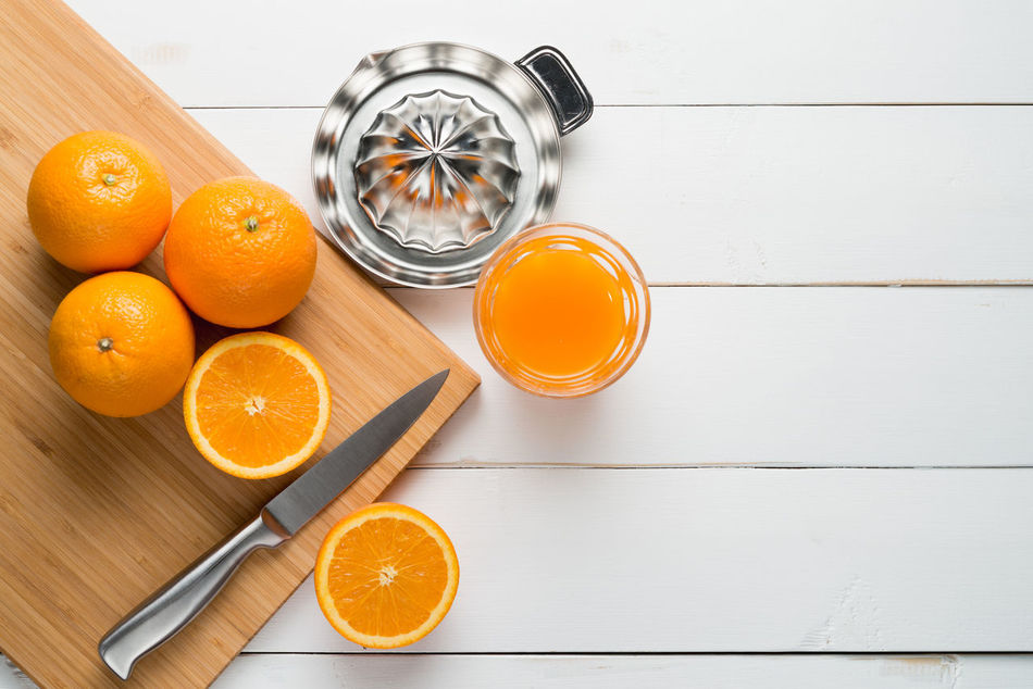 Cut Cutting Board Delicious Fresh Fruit Juice Juicy Knife Orange Refreshment Sour Squeeze Sweet Table Vitamin White Wood