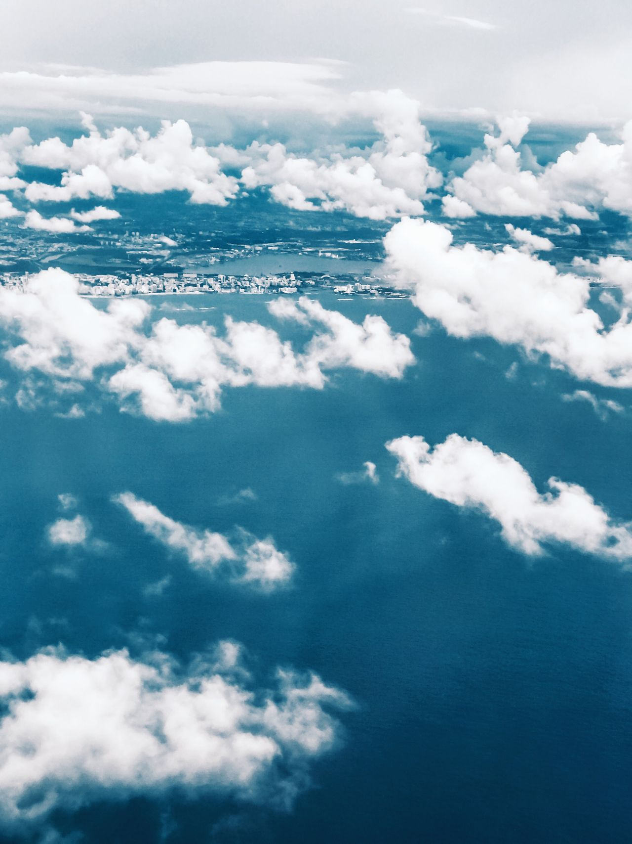 Aerial View Sky Beauty In Nature Cloud - Sky Nature Scenics No People Day Sea Tranquility Blue Outdoors Water Backgrounds Aerial Photography Landscape Puerto Rico Clouds And Sky Ocean Caribbean The Great Outdoors - 2017 EyeEm Awards