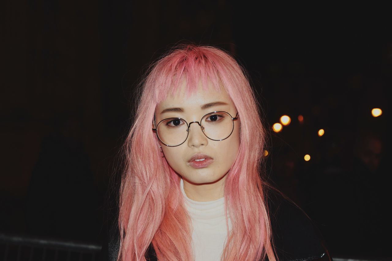 Model Mode Fashion Photography Portrait Of A Woman Looking At Camera Woman People Fashion Fashionweek Looking At Camera Portrait Headshot Eyeglasses  Young Adult Long Hair Pink Color Outdoors Woman Portrait Millennial Pink