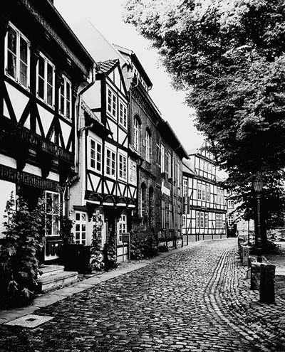 In the olden days Timbered House Cobbled Streets Medieval Town Brunswick Braunschweig Germany