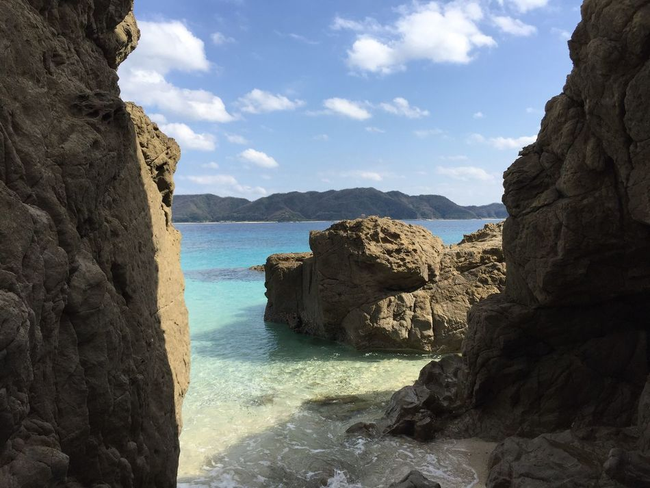 Sea Beauty In Nature Nature Scenics Water Rock - Object Rock Formation Sky Rock Horizon Over Water Tranquility Tranquil Scene Day No People Beach Outdoors Hideaway Secretplace Secretbeach  Blue Water Kagoshima Amami Island