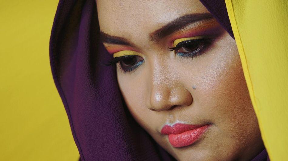 One Woman Only Fashion Portrait Looking At Camera Beautiful Woman Human Face Make-up Yellow Eyelash Human Eye EyeEmNewHere Headshot Muslimahfashion Women Around The World