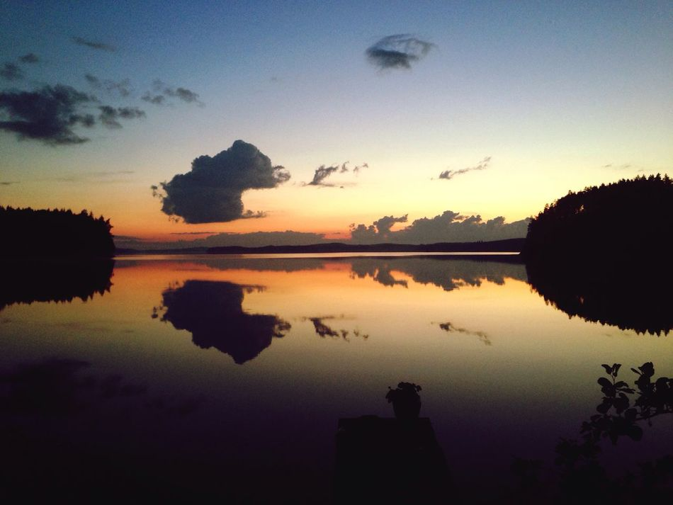 Finland Puula Lake Lake View Midsummer Midnight Sunset